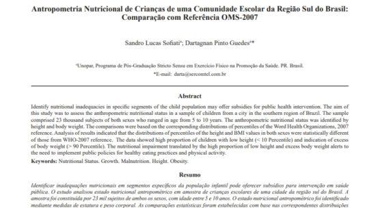 Artigo: Antropometria Nutricional de Crianças de uma Comunidade Escolar da Região Sul do Brasil: Comparação com Referência OMS-2007